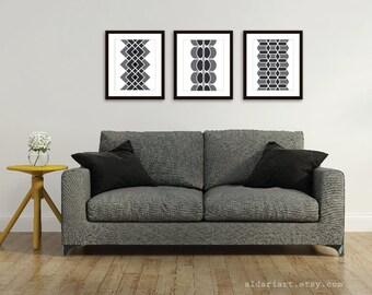 Mid Century Geometric Digital Art Prints - Set of 3 - Modern Home Decor - Black and White Wall Art