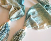 Turquoise Ombre Handwoven Scarf with Tassel, Hand Dyed, Hand Painted, Silk Rayon Hand Loomed Scarf, Wife Gift, Valentine Gifts For her