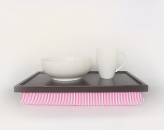 Serving tray, pillow desk- greyish brown with pink and white stripped elastic fabric pillow