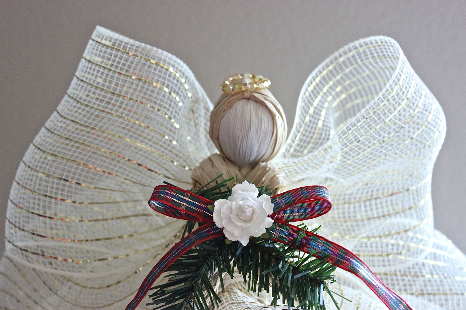Angel Tree Topper Raffia Angel Christmas Tree Topper