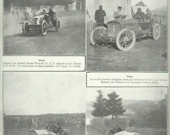 Vintage Motor Racing photographic print 1909 Szisz Thery Nazzaro Lautenschlager Grand Prix French vintage print art home decor wall art