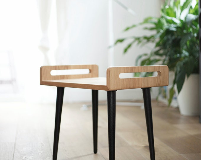 Wooden Stool / tray / bench made on solid oak board and oak legs