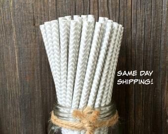 75 Silver Chevron Straws, Wedding, Baby Shower, Birthday Party Supply