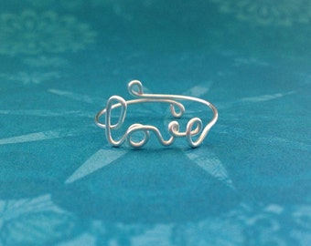 LOVE Ring in Silver Plated, Gold, Copper, Pink Rose and Aqua