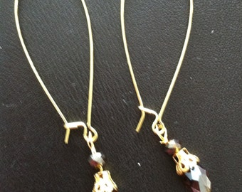 Amber briolette Crystal Earrings