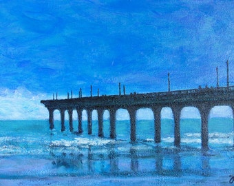 Commission an Original Painting, beach art, New Brighton pier, contemporary acrylic painting, seascape, free shipping