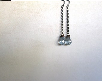 Long Blue Droplet Earrings by Nancelpancel on Etsy