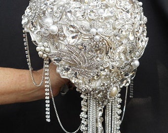 CRYSTAL WEDDING BOUQUET- Deposit Only for a Custom Silver Crystal Brooch Crystal Bouquet, brooch Bouquet, Jeweled Bouquet
