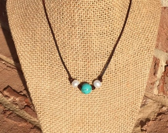 Freshwater Pearl and Turquoise Leather Necklace