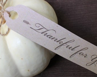 Thankful for You/Happy Thanksgiving Favor Tags - Thanksgiving Table Decor - Printable PDF File