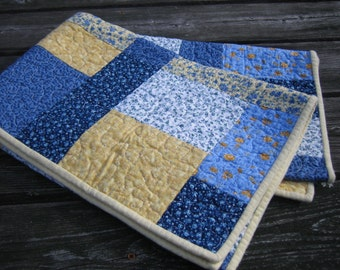 Blue and yellow floral baby or toddler quilt