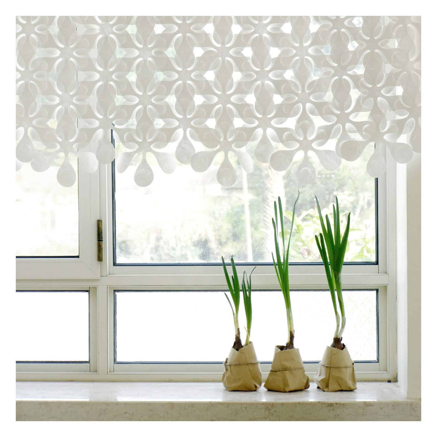 Floral Paper Curtains Window Covering Wall Hanging By