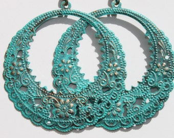 Turquoise Earrings Patina Dangle Hoop Earrings Boho Earrings Bohemian Earrings Filigree Earrings Gypsy Earrings Jewelry Gift For Her