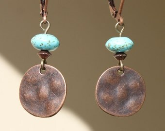 Textured Hammered Copper Earrings Turquoise Earrings Boho Earrings Dangle Small Earrings Jewelry