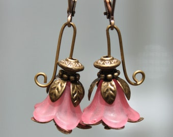 Pink Earrings Flower Earrings Lucite Earrings Dangle Earrings Spring Earrings