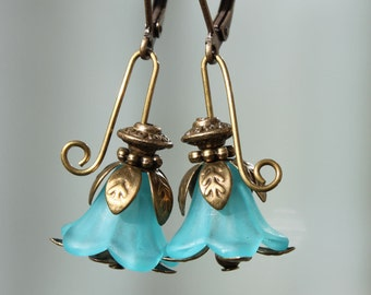 Blue Earrings Blue Flower Earrings Lucite Earrings Dangle Earrings Jewelry