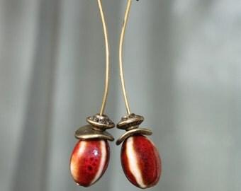 Red Earrings Ceramic Beads Earrings Earthy Earrings Dangle Boho Chic Earrings Jewelry Earrings  Long earrings Light Earrings