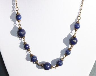 Navy Blue Necklace Lapis Lazuli Necklace Beaded Necklace Stone Semi precious Beadwork Gemstone Birthstone Royal Blue Cobalt Necklace
