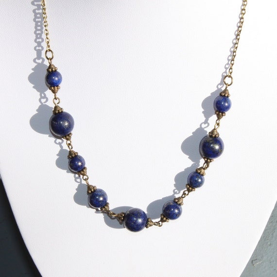 navy blue necklace lapis lazuli necklace beaded by