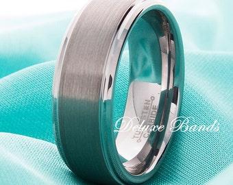 Tungsten Wedding Ring,Steped Edges,8mm,Tungsten Wedding Band,Tungsten Anniversary Ring,Mens Womens Tungsten Band,Handmade,Tungsten MensRing