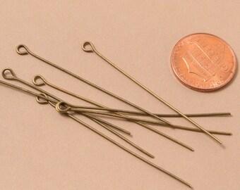 250 Pcs Antique Brass Eye Pin 2in / 21 Gauge / BULK / Z020-250