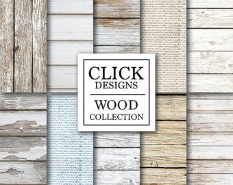 """Wood Digital Paper: """"WHITE WOOD"""" washed white natural wood rustic backgrounds & burlap soft papers for photography backdrops, invites, carts"""