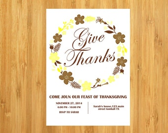Printable - Give Thanks Thanksgiving Invitation