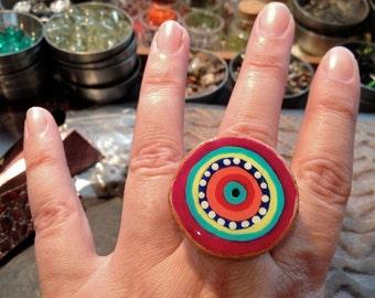 Ring, Painted Wood Slice, Adjustable Ring, OOAK