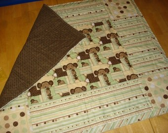 Monkey fun! Homemade quilt! Green, tan and brown for boys or girls!
