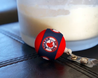 Boston Red Sox Retractable I.D. Badge Holder.  Red or Blue Covered Fabric Button with Boston Red Sox Ribbon.