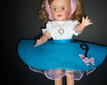 """Vintage Repro 1950s 9pc Poodle Skirt/Shoes Outfit Made to Order for Ideal P-90 14"""" or P-91 16"""" Toni and 15"""" or 17"""" Vinyl Shirley Temple Doll"""