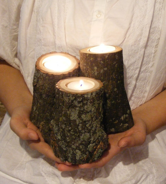 Wood Candle Holder Rustic Home Decor Primitive Decor Reclaimed Wood Log Tealight Holder