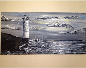 Black and White Contemporary Abstract Lighthouse, acrylic painting