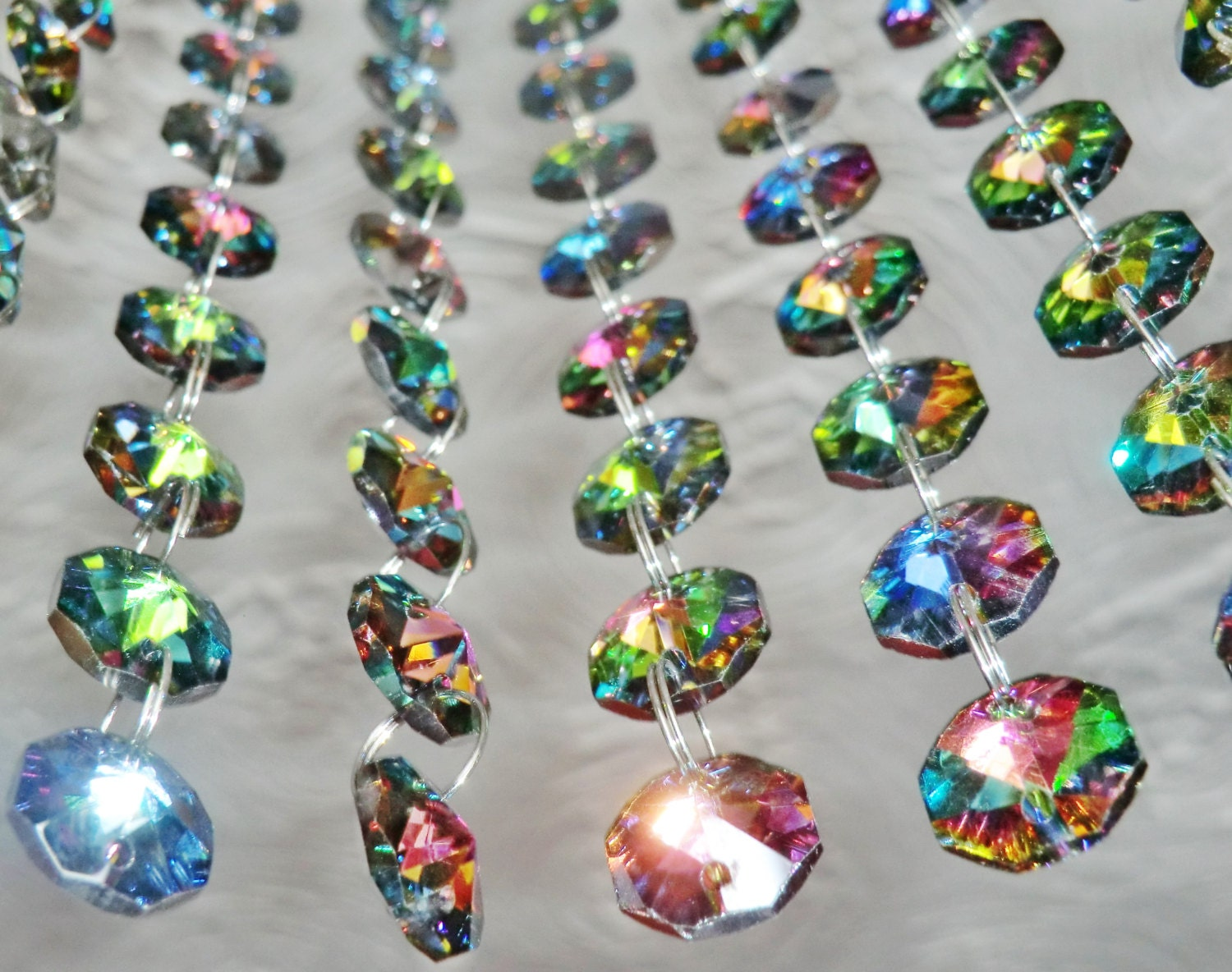 14mm Octagon Vitrail AB Chandelier Prisms Drops Glass Crystals ...