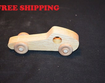 Handcrafted Set of 10 Small Wooden Race Cars