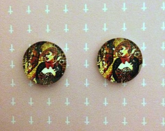 Pop art style Columbia post earrings