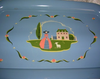 Vintage Trays-Lap trays-metal trays-tin trays- Blue-Little Bo Peep-Country Side-LOT of 4-tea time-playroom decor-tv trays