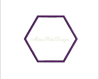 Hexagon Applique Machine Embroidery Design Instant Download