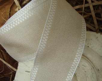 French Country Natural and White Checked Edge Ribbon