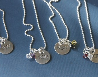 Hand Stamped College Necklace -Dainty Sterling Silver School Necklace - Necklace with School Colors, 1311