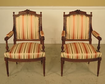 23190E: Pair Of French Louis XVI Carved Walnut Fauteuils Open Arm Chairs