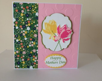 Handmade Happy Birthday flowers card