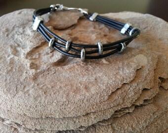 Men's Black Leather and Silver Bracelet