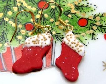 Christmas Sock Earrings, White and Red Earrings, Christmas Sock Earrings, Xmas Earrings, Christmas Jewelry, Xmas Jewelry
