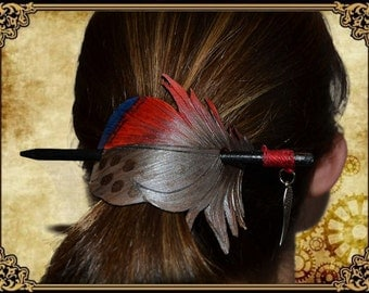 Hair pin feather feather hair pin brooch stick stick red silver