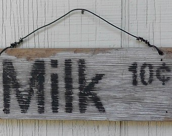 MILK -Free Shipping-Antique style sign,Reclaimed wood,Rustic,Primitive,White,Kitchen,Home decor, Distressed, Vintage look, with Wire hanger