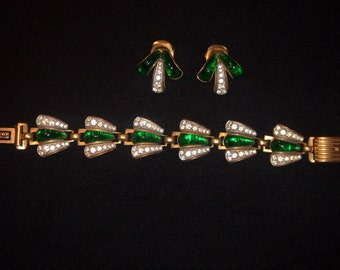 (6) bracelet & earrings, signed CORO, 1940