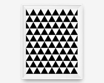 SALE Geometric Triangle Print, Black and White Triangle, Abstract wall art, Scandinavian Poster, -  Digital Download - Printable Art