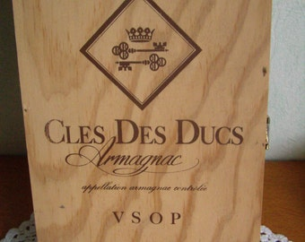 French wooden box. Wine crate. Armagnac. French wood panel. French storage box.