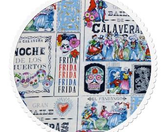 Cotton Quilting Fabric by the Yard- Alexander Henry - Baile de Calaveras Marine/Tea
